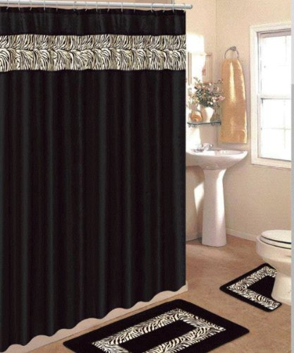 4 piece bath rug set 3 piece black zebra bathroom rugs with fabric shower curtain and matching rings