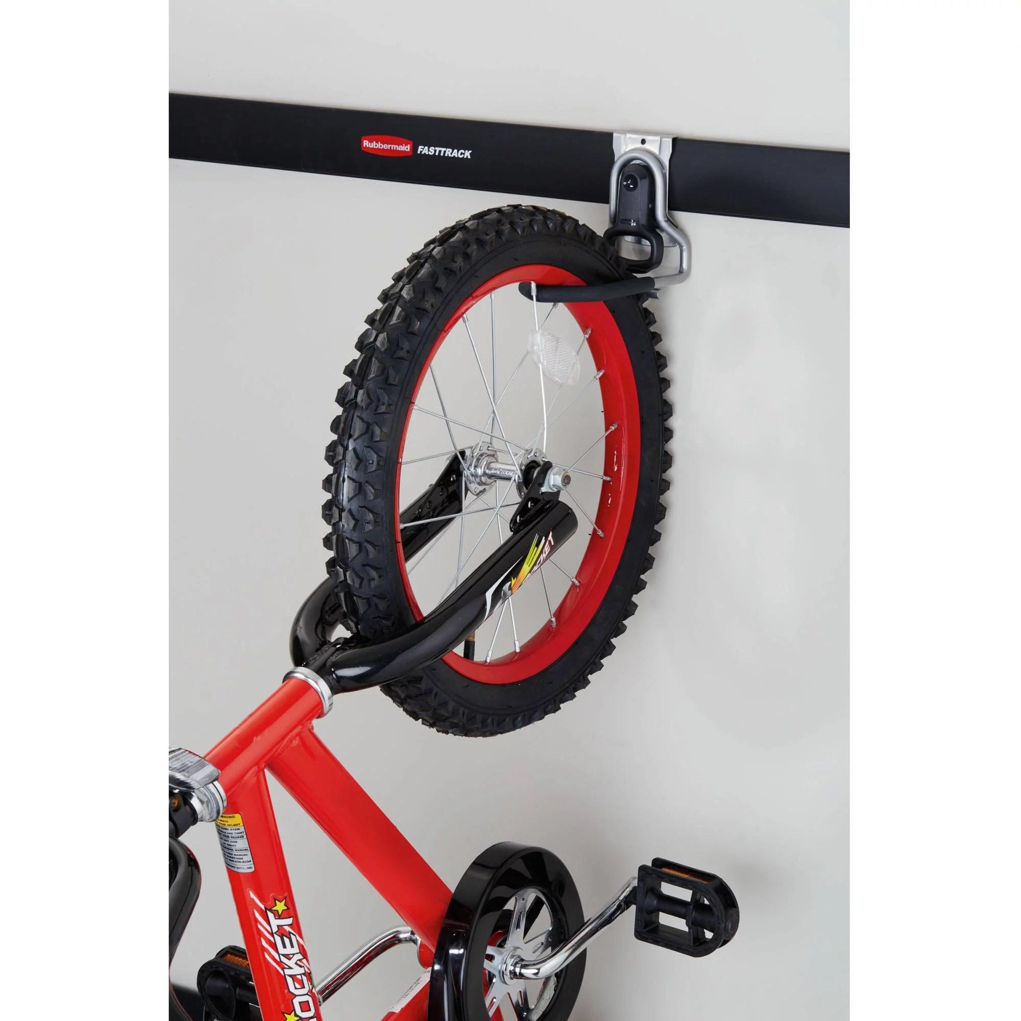 rubbermaid fasttrack garage storage wall mounted vertical bike hook