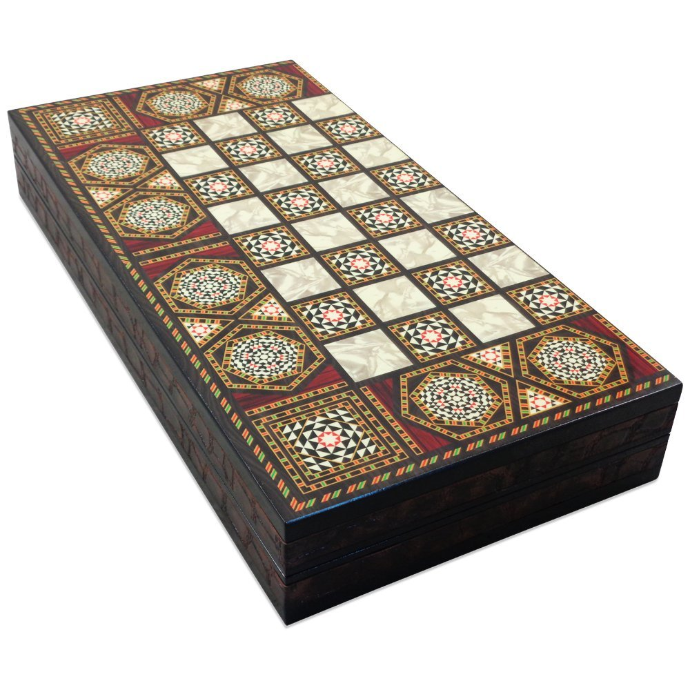 The 19 Black Star Turkish Backgammon Board Game Set