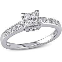 Miabella 1/4 Carat T.W. Princess and Round-Cut Diamond ...