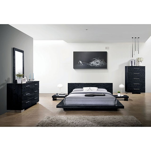 contemporary look black finish bedroom furniture 4pc queen size bed set