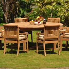 Round Table 8 Chairs Hampton Bay Patio Teak Dining Set Seater 9 Pc 72 And Giva Arm Outdoor Grade A Wood Wholesaleteak Wmdsgv31 Walmart Com