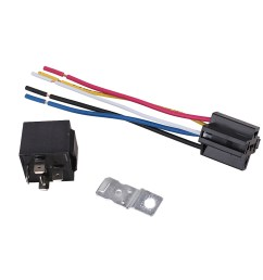 automotive waterproof relay harness set spdt 5 pin 30 40a 12v with interlocking relay socket and wiring harness walmart com [ 1000 x 1000 Pixel ]