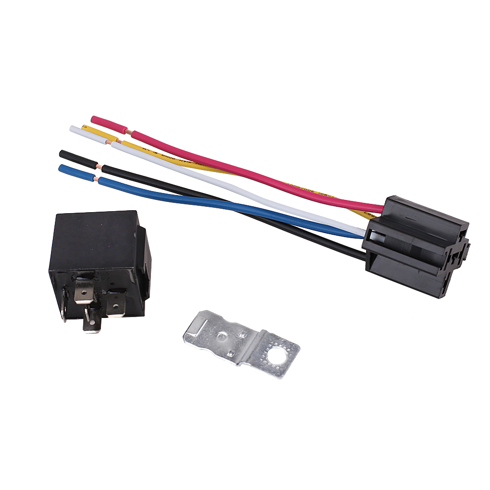 medium resolution of automotive waterproof relay harness set spdt 5 pin 30 40a 12v with interlocking relay socket and wiring harness walmart com