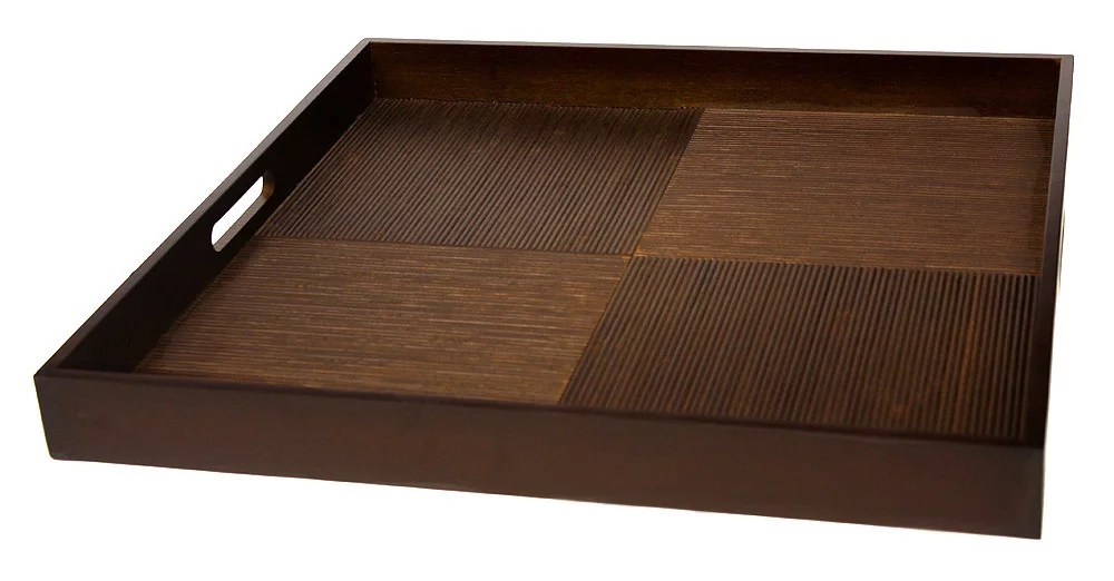 simply bamboo brown extra large square ribbed bamboo serving tray 20 walmart com