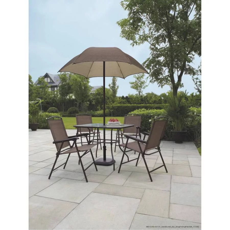 umbrella chair walmart office star products costway 6 pcs patio garden set furniture gray with 4 folding chairs table com