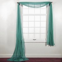 1 PC SOLID TEAL GREEN SCARF VALANCE SOFT SHEER VOILE ...
