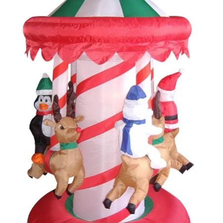 6 5 Inflatable Animated Christmas Carousel Lighted Yard Art Decoration