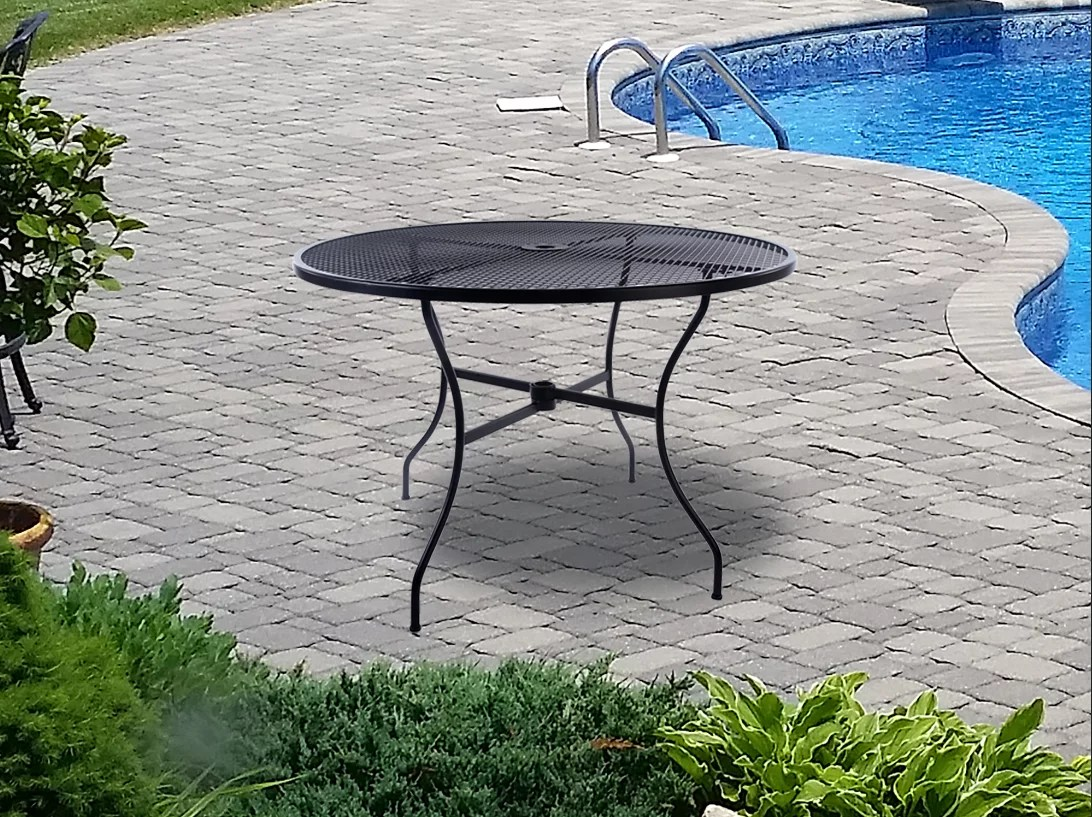 arlington house wrought iron outdoor 42 round dining table charcoal