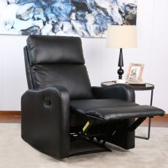 Reclining Chairs Modern Garden Table And Bonzy Recliner Chair Black Leather For Living Room Durable Framework Walmart Com