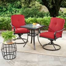 3 Piece Patio Bistro Set Brick Red Cushions Swivel Chairs