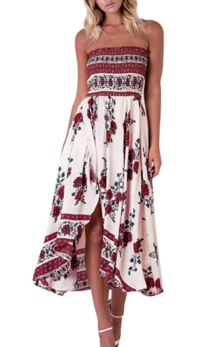 Maxi Dresses for Women, Vintage Floral Print Summer Beach Dress, Strapless ,M