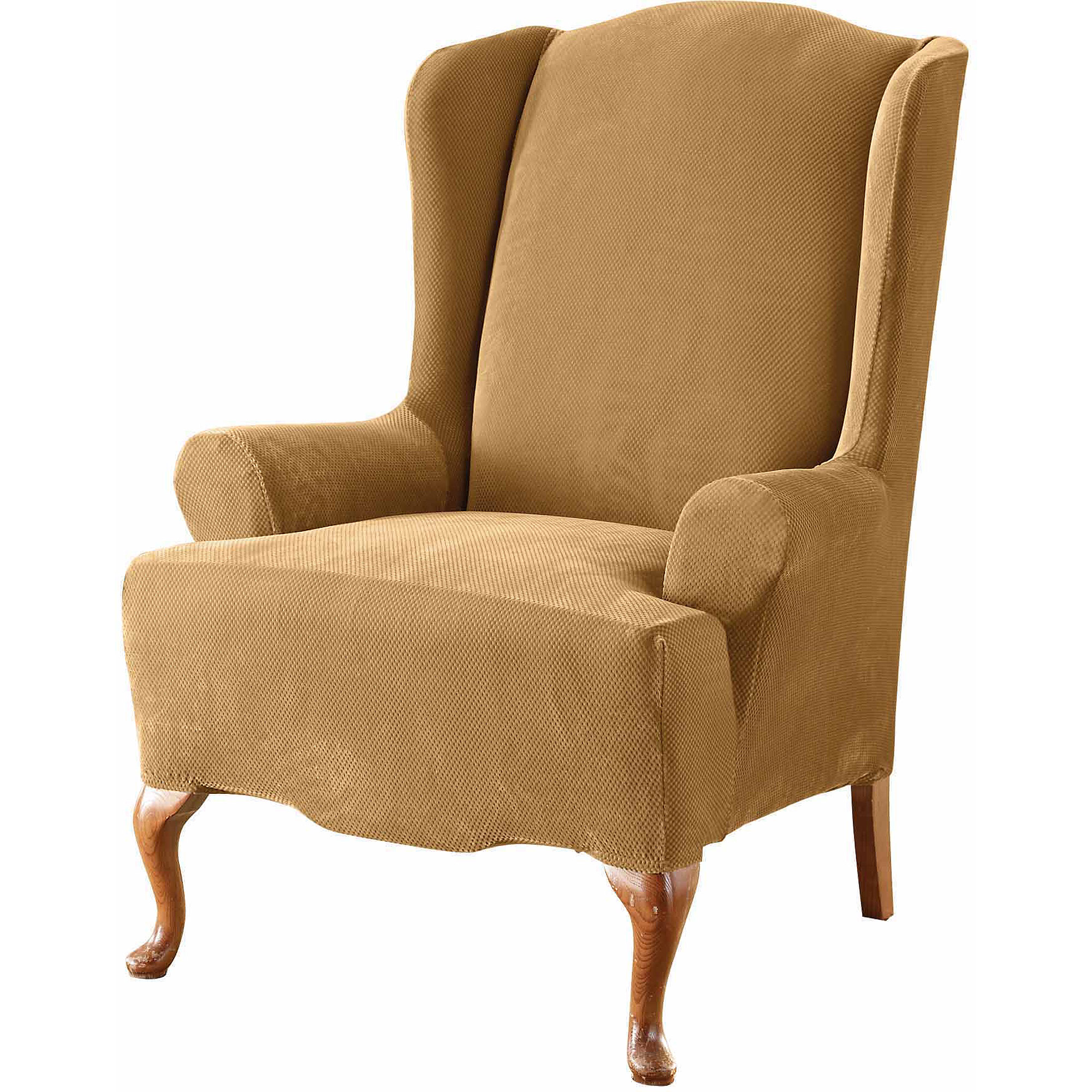 how to make slipcover for wingback chair exercise desk sure fit stretch pique wing walmart com