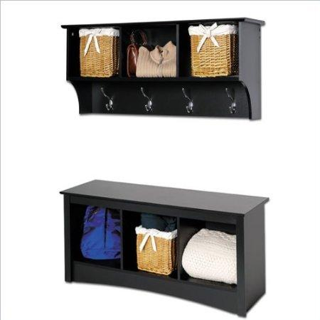 Sonoma Black Cubbie Bench And Wall Coat Rack Set Walmart Com