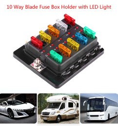 10 way circuit blade fuse box block holder with led warning light kit for car van boat marine fuse block 10 way blade fuse box walmart com [ 1001 x 1001 Pixel ]