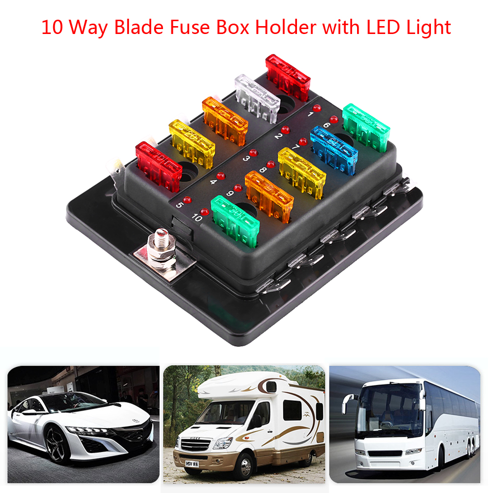 hight resolution of 10 way circuit blade fuse box block holder with led warning light kit for car van boat marine fuse block 10 way blade fuse box walmart com