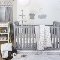 The Peanut Shell 3 Piece Baby Crib Bedding Set - Grey and ...