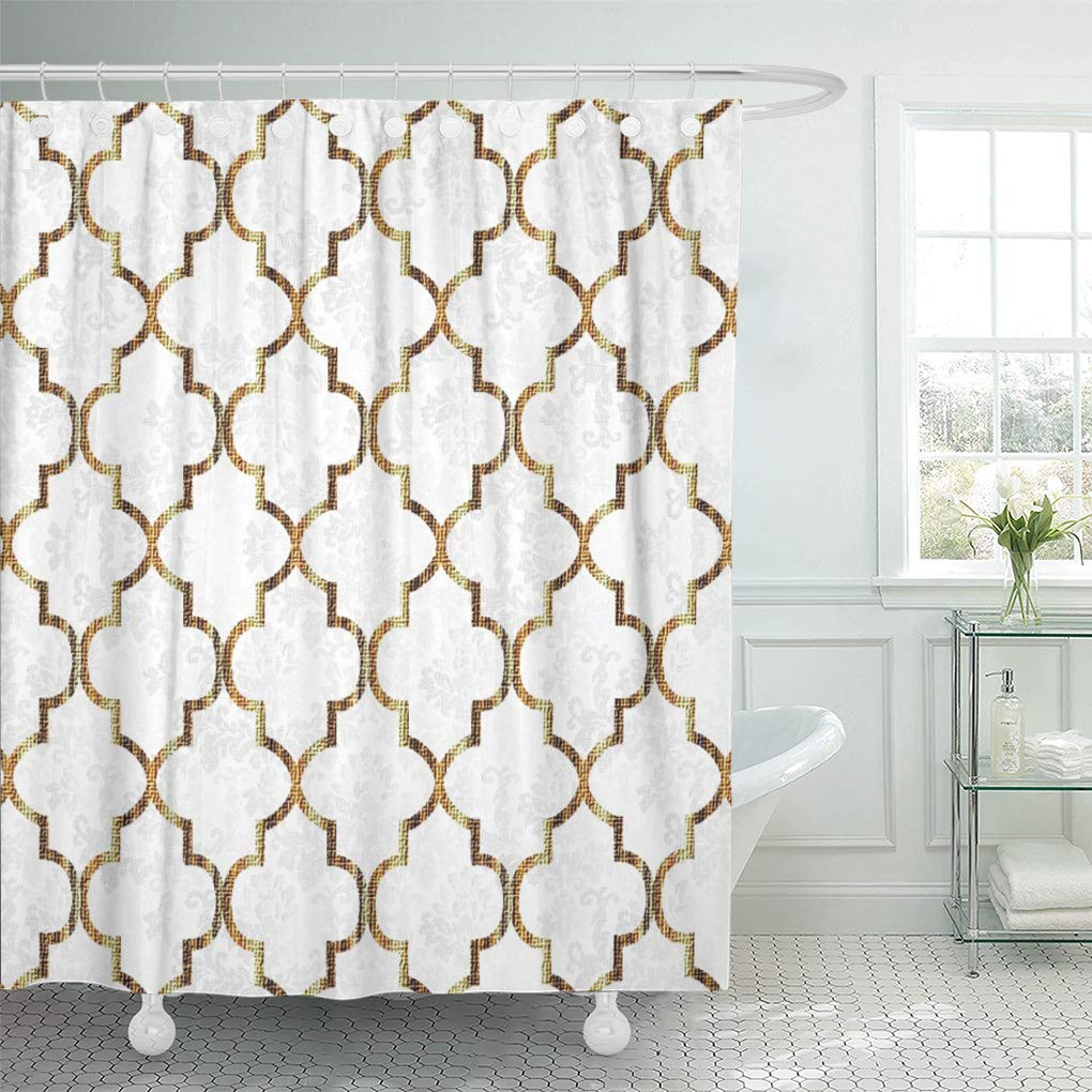 cynlon lattice white gold quatrefoil patterns geometric moroccan contemporary popular bathroom decor bath shower curtain 66x72 inch