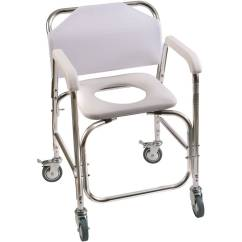 Handicap Shower Chair Antique Metal Lawn Chairs Value Dmi Transport Commode For Toilet With Wheels Rolling Padded Seat White Walmart Com