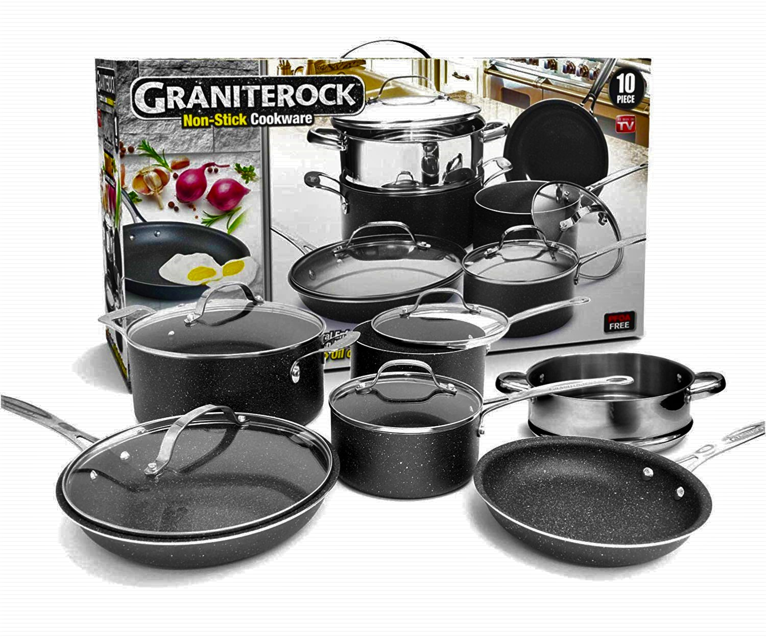 kitchen pan set small round table graniterock 10 piece non stick ultra durable mineral granite coated scratch proof cookware walmart com