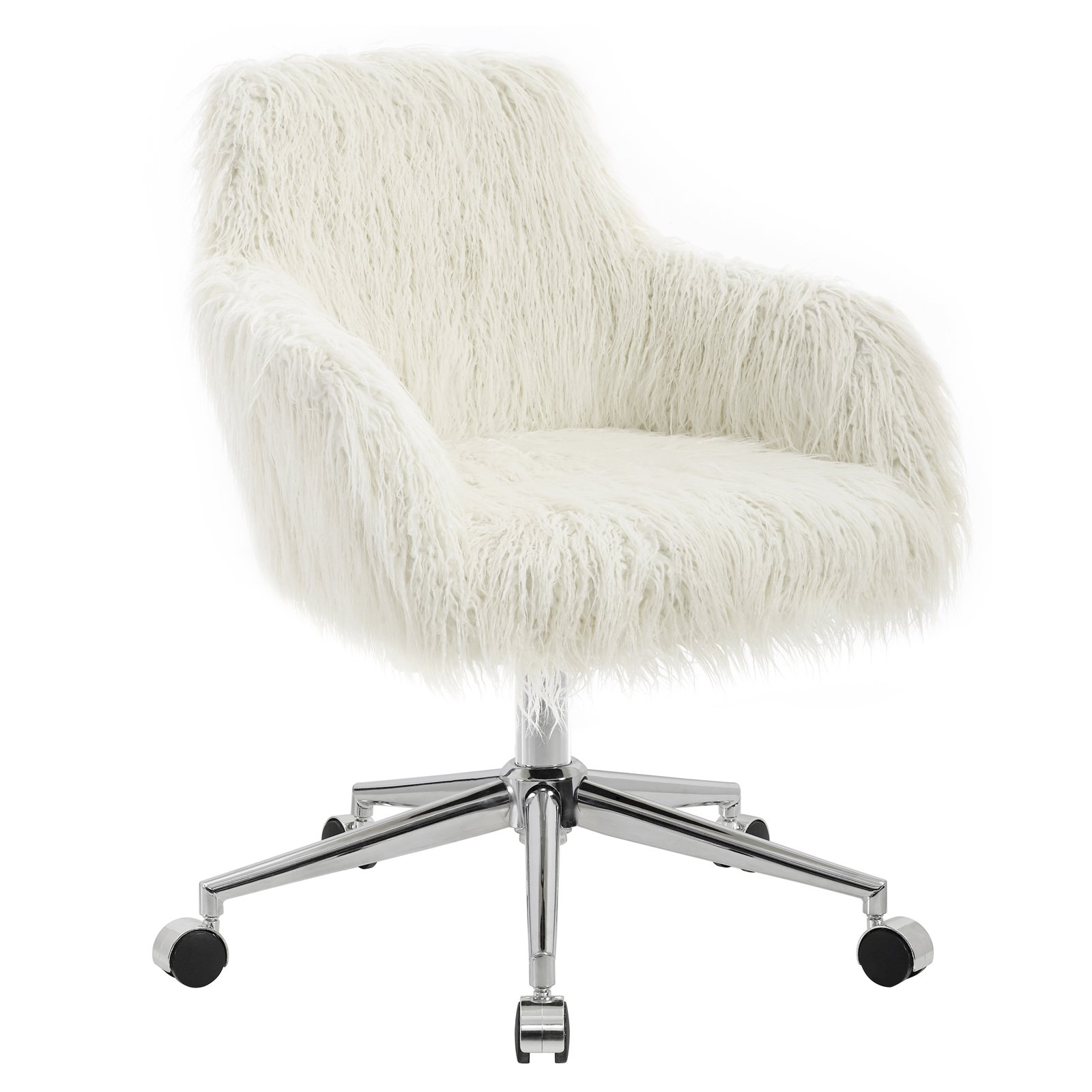 Linon Fiona Faux Fur Office Chair1620 in Adjustable