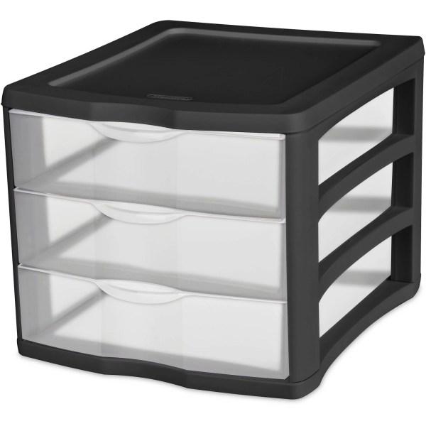 Black Sterilite 3 Drawer Desktop Unit