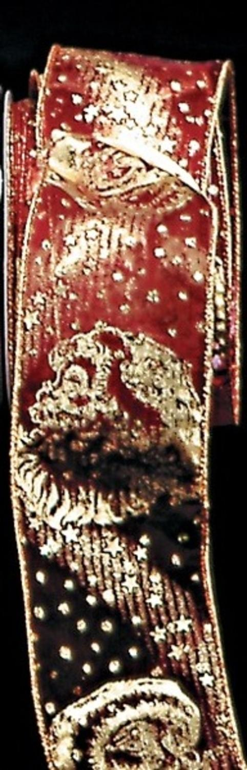 Sheer Burgundy Red And Metallic Gold Saint Nickolaus Wired