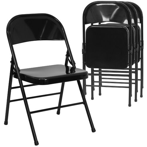 chair steel folding ashley and a half hercules hinged metal set of 4 black walmart com