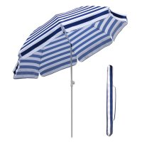 Sekey7ft beach umbrella blue white stripes outdoor ...