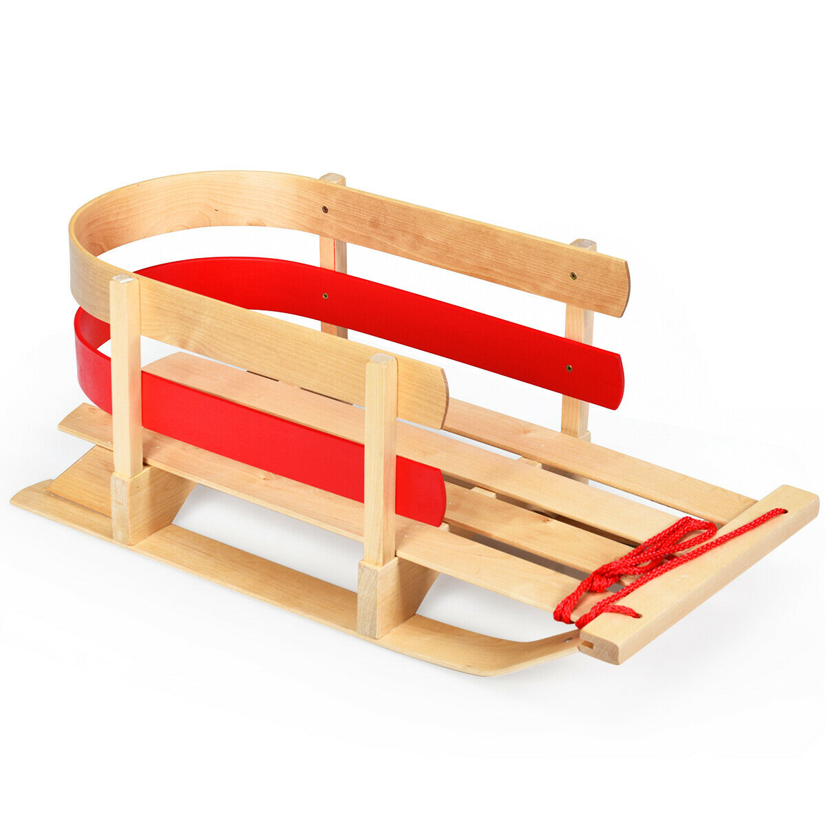 baby kids wooden sled w solid wood seat toddler slope boggan play snow toys
