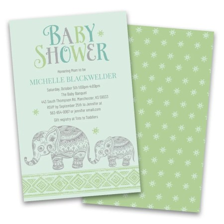 Personalized Baby Elephant Shower Invitations
