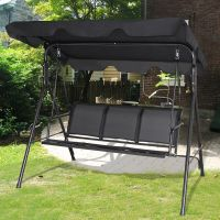 Cheap Patio Swings With Canopy & Gymax Black Outdoor Swing ...