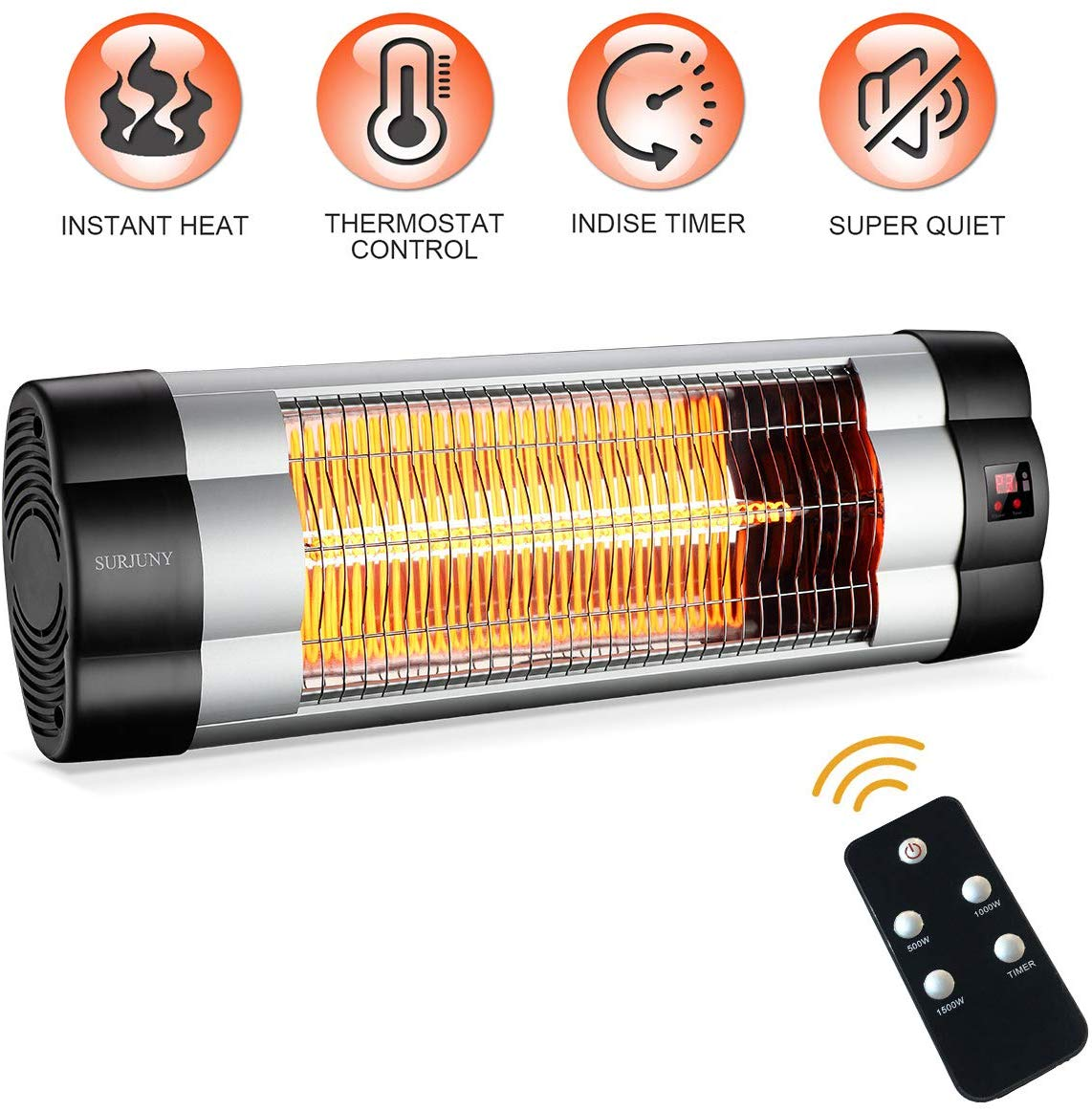 patio heater surjuny electric outdoor patio heater with lcd display 1500w adjustable thermostat 3 seconds instant warm waterproof ip34