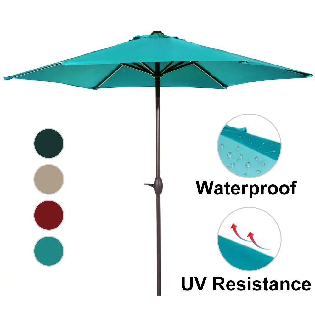 abba patio 9 ft market outdoor aluminum table patio umbrella with push button tilt and crank turquoise
