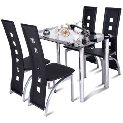 Kitchen Glass Table Backyard Designs Costway 5 Pcs Dining Set 4 Chairs Home Breakfast Furniture