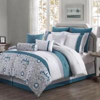 Chloe 10-piece Reversible Comforter Set Teal/ Gray/ Ivory ...
