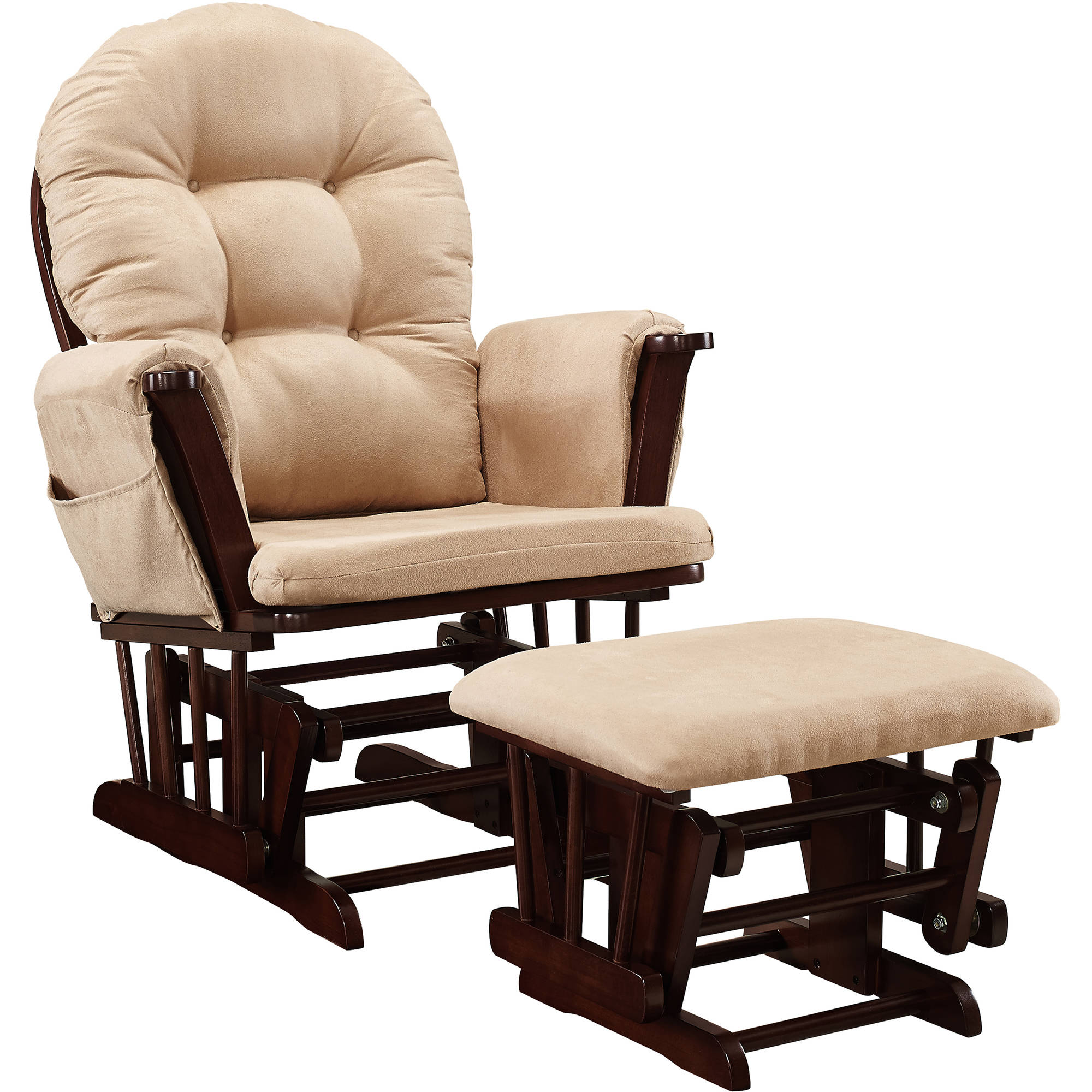 Cushions For Glider Chairs Baby Relax Harbour Glider Rocker And Ottoman Espresso With Beige Cushions