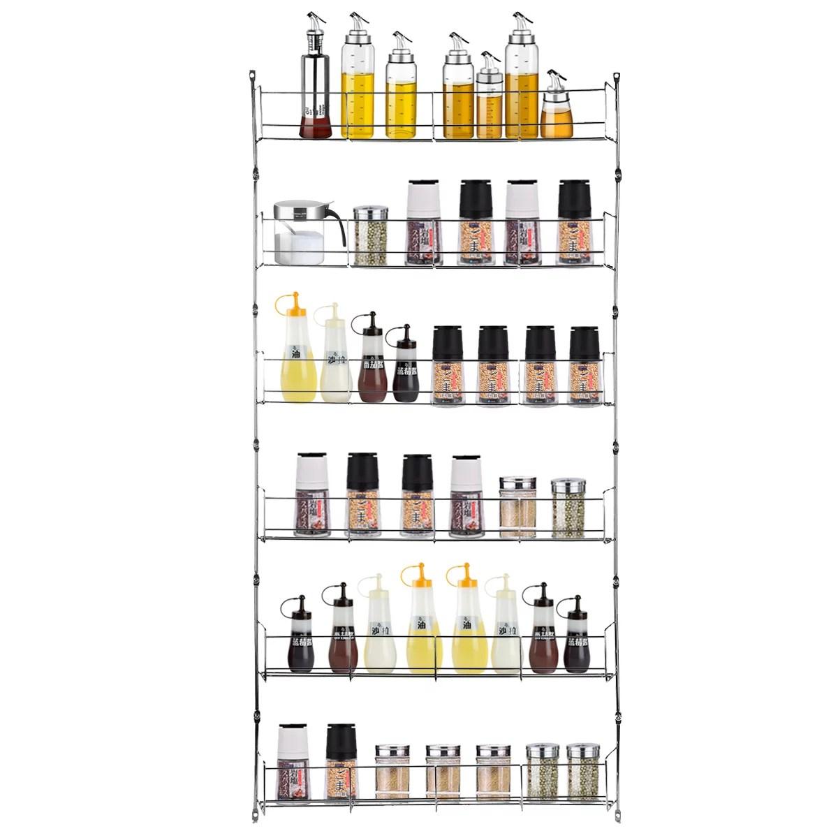 6 tier kitchen door wall mounted spice rack cabinet hanging organizer pantry herbs seasoning jars storage shelving holder walmart com