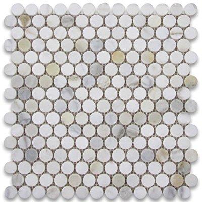 calacatta gold italian calcutta marble penny round mosaic tile 3 4 inch polished
