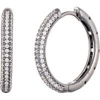 Women's CZ Sterling Silver Hoop Earrings - Walmart.com