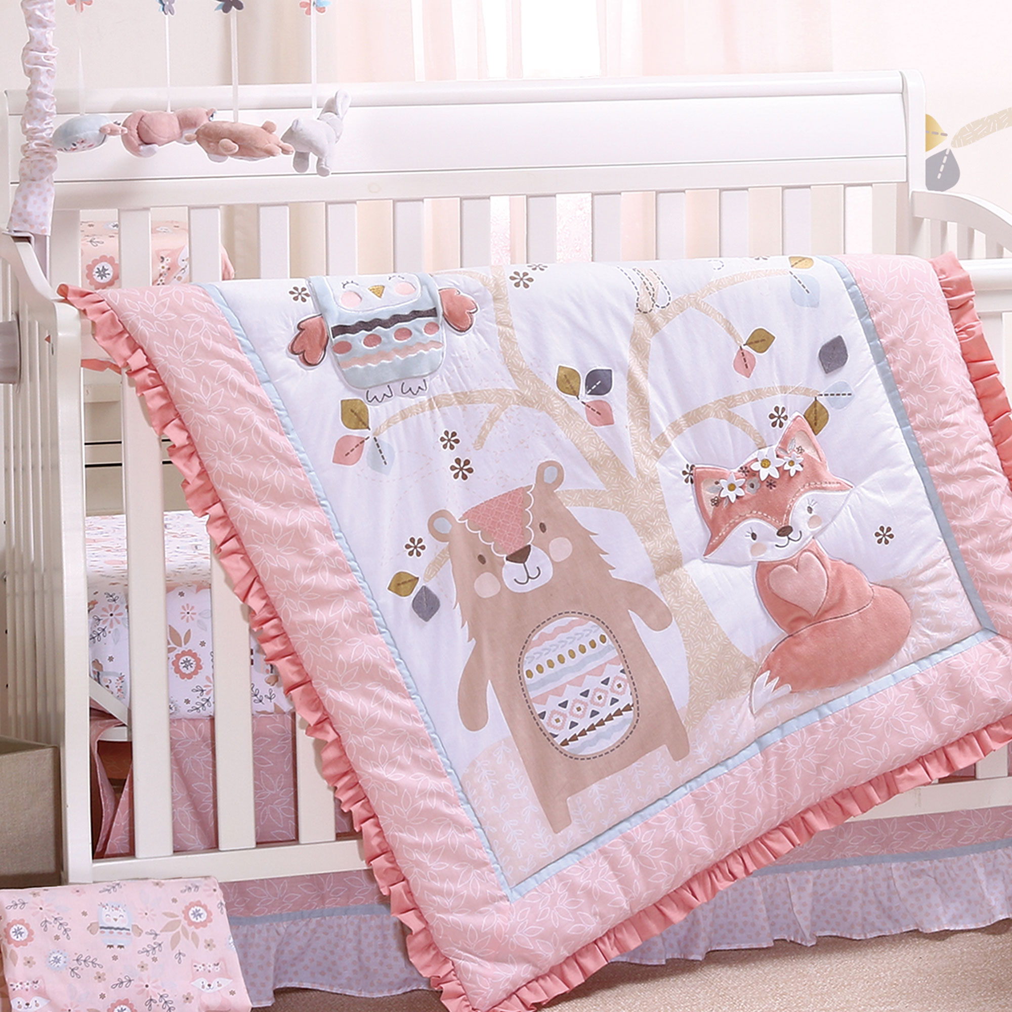 woodland friends 4 piece forest animal theme baby crib bedding set rose pink