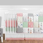 Sweet Jojo Designs 9 Piece Coral Mint And Grey Woodsy Deer Girls Baby Bedding Crib Set With Bumper Walmart Canada