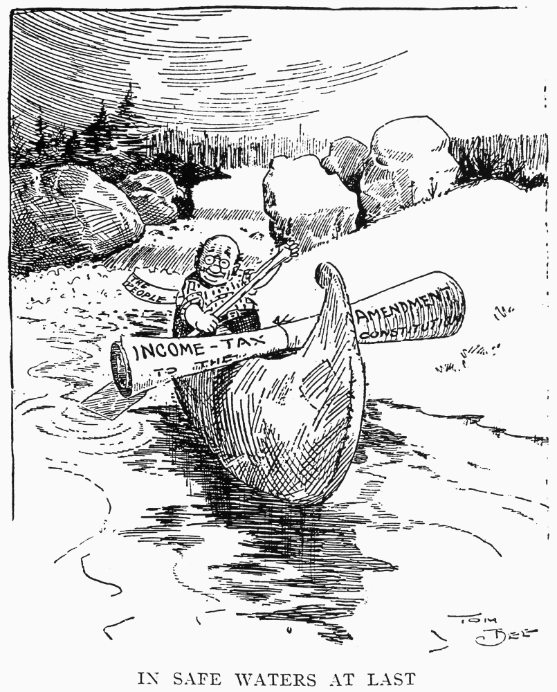 Cartoon Income Tax 1913 NIn Safe Waters At Last A