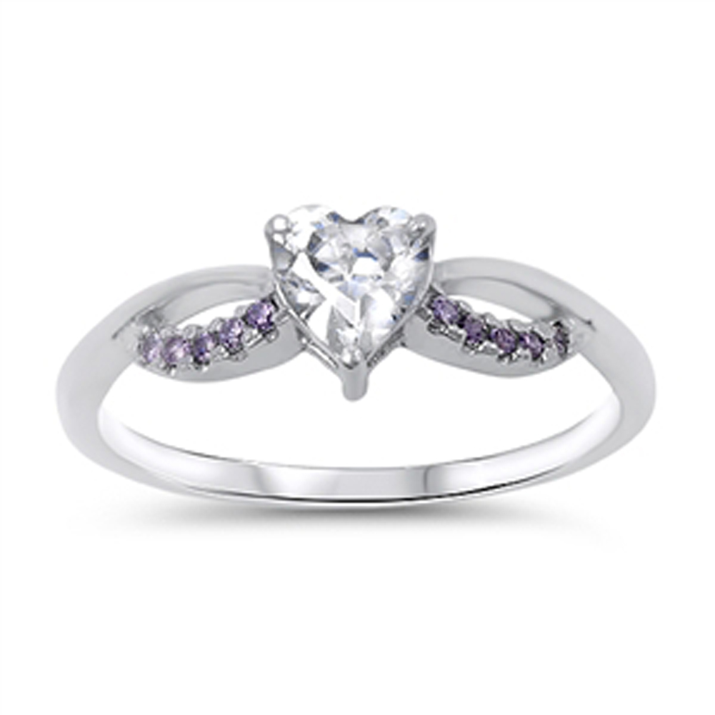 Women's Heart Simulated Amethyst Promise Ring ( Sizes 4 5
