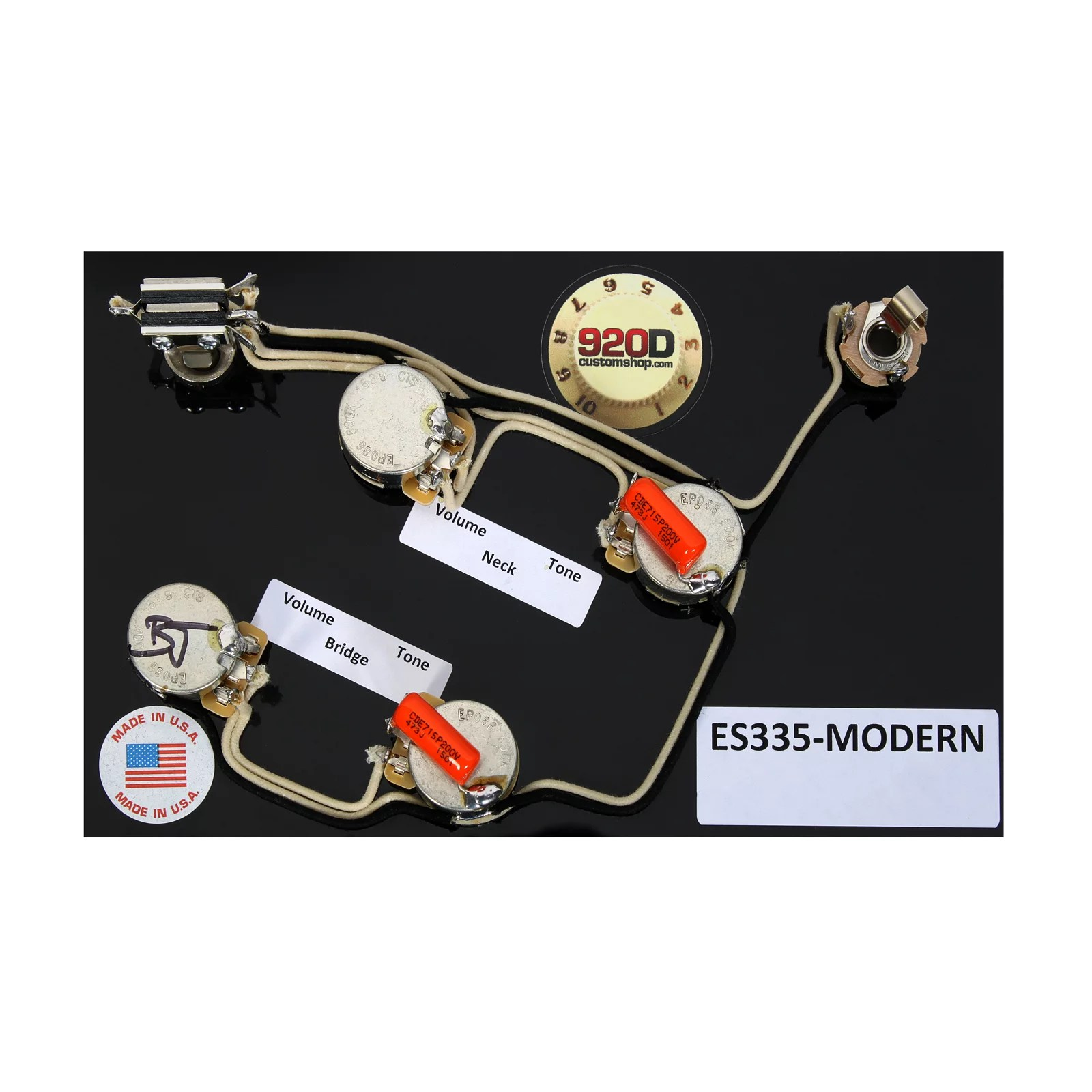 hight resolution of 920d es 335 modern style wiring harness for gibson cts switchcraft orange drop