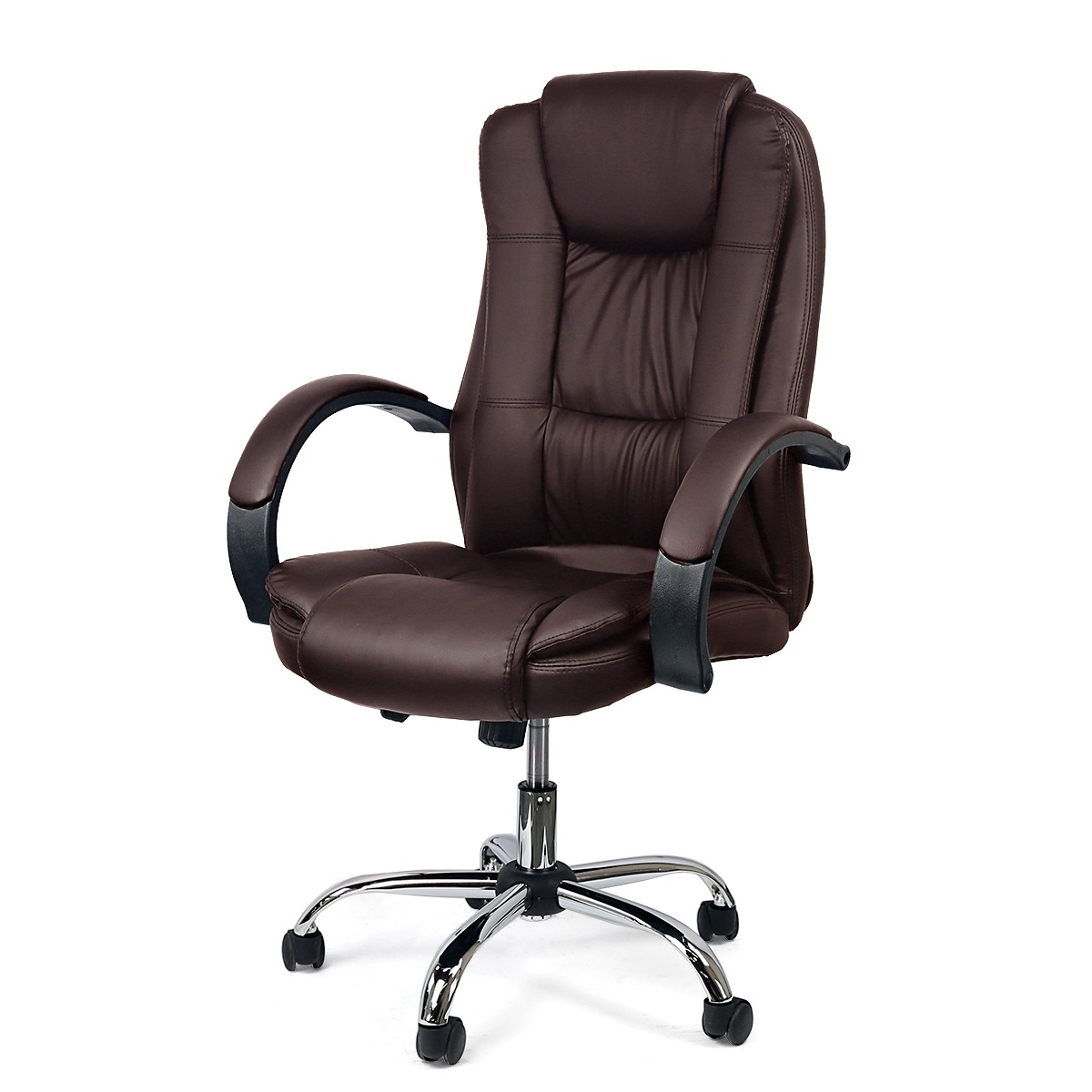 walmart leather office chair Manson High Back Office Chair Executive PU Leather Swivel Lift, Brown - Walmart.com