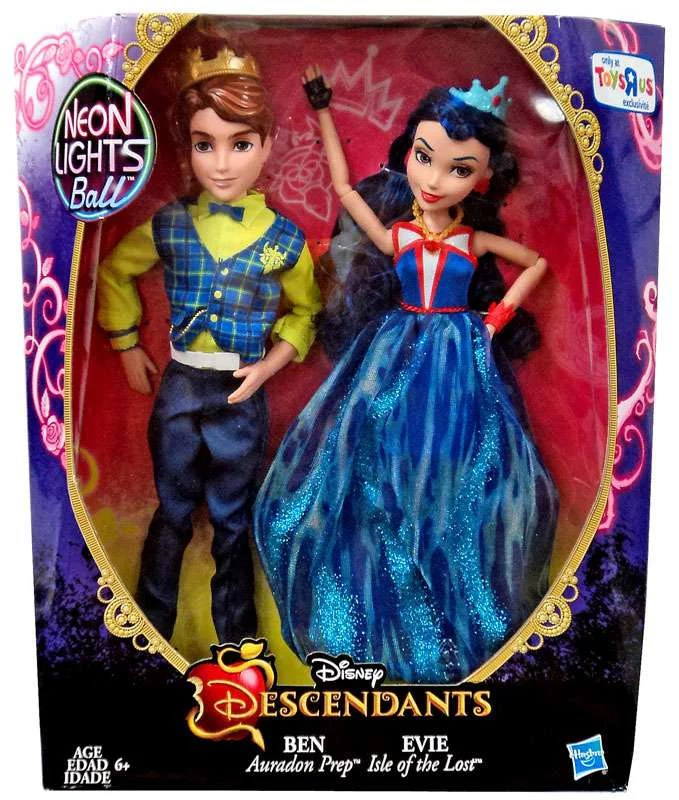 Disney Descendants Neon Lights Ball Ben Evie Doll 2 Pack
