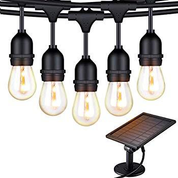 solar string lights 48 ft led outdoor string lights shatterproof waterproof pergola lights 15 hanging sockets light sensor s14 edison bulbs