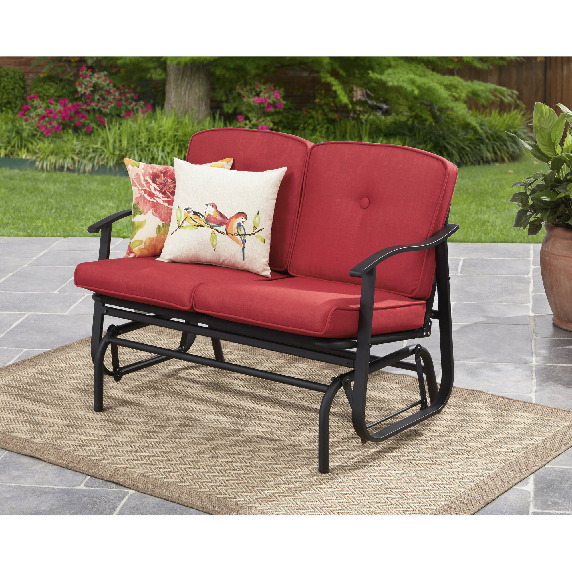 swing chair dragon mart white barber loveseat glider bench outdoor rocker with cushions