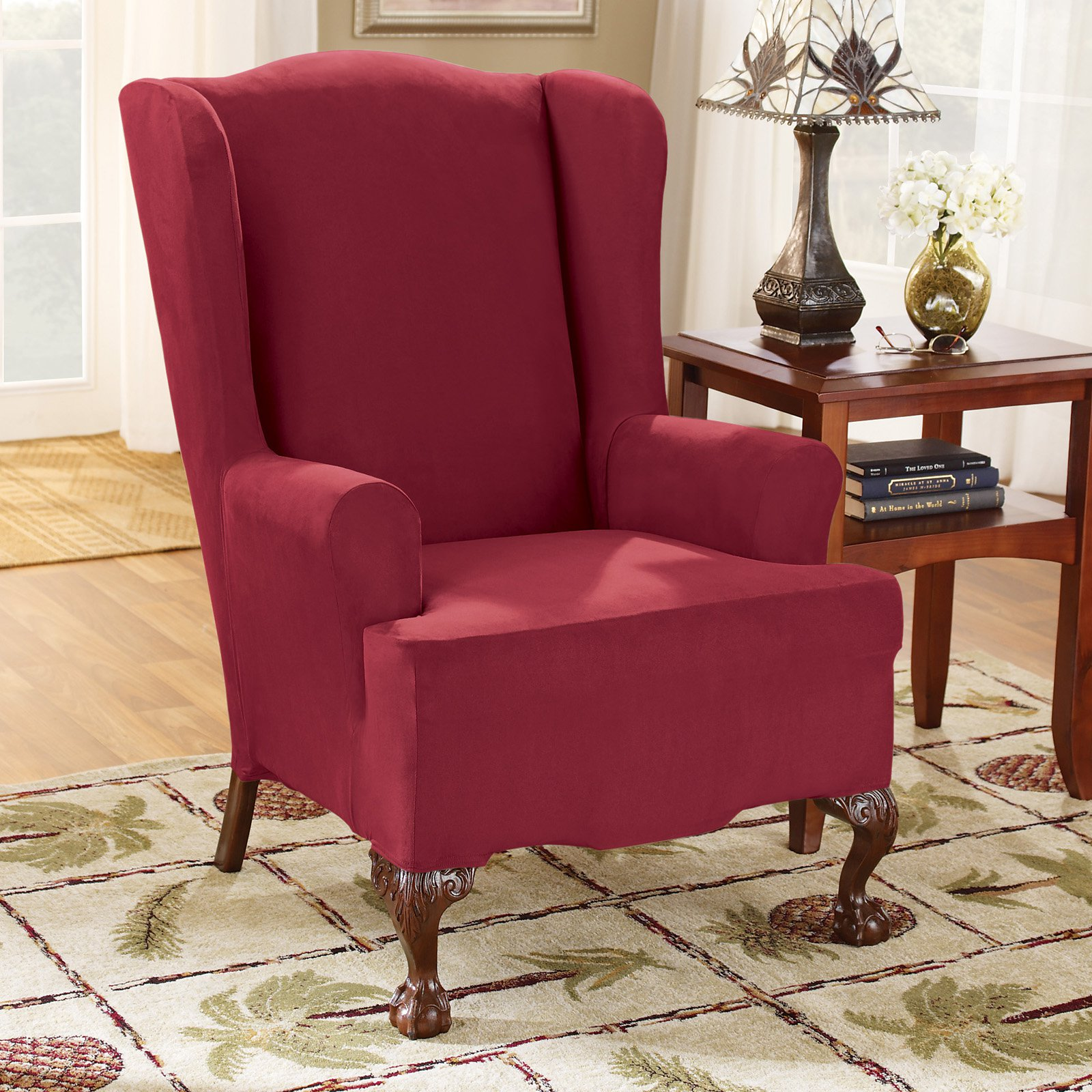 Surefit Chair Covers Sure Fit Stretch Suede Wing Chair Slipcover